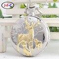 Золотой олень античная silver кварцевые карманные часы классический раскладушка Турбийон стол Бесплатно shippin DS113