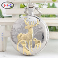 golden deer antique silver quartz pocket watch classic clamshell Tourbillon table  Free shippin DS113