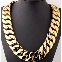 Qmzchentrendy 31MM Super Heavy Thick Mens Flat Round Curb Cuban Chain Necklaces Gold Tone 316L Stainless