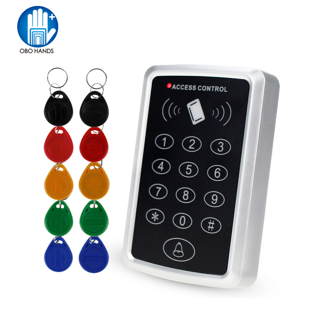125KHz Rfid Standalone Access Control Keypad EM Card Reader with 10 Keychains Door Keyless Lock For Entry Security System mini access control keypad em card wiegand 26 output input with rfid keyfobs 125khz for door lock security system