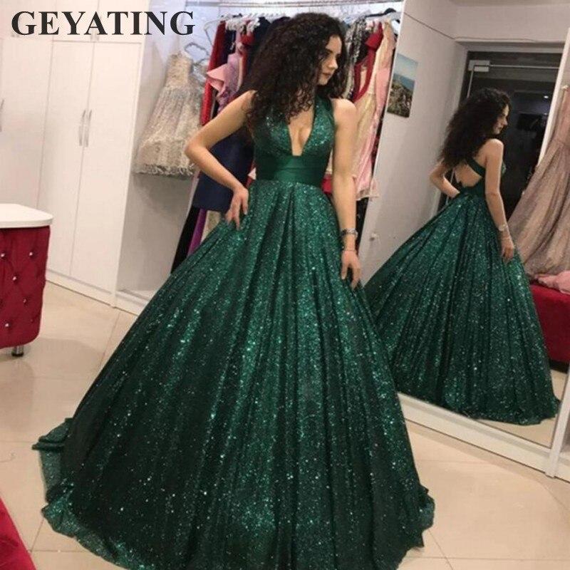 Glitter Sequins Emerald Green Arabia   Evening     Dress   2018 Sexy Deep V-Neck Criss Cross Burgundy A Line Dubai Prom Party   Dresses
