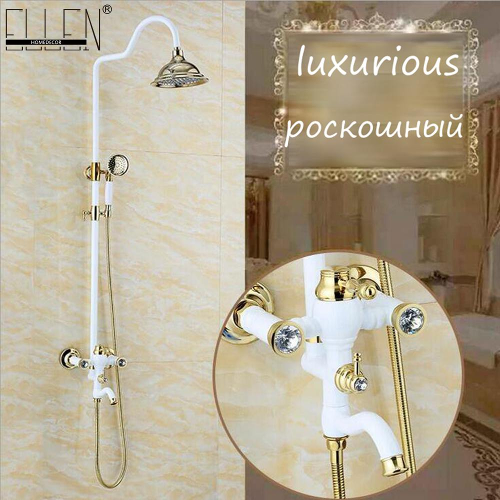 Bathroom Rain Shower Set White and Gold Finished Luxury Wall Mounted white Golden Shower Set Bath Shower Faucet Copper ELS2001