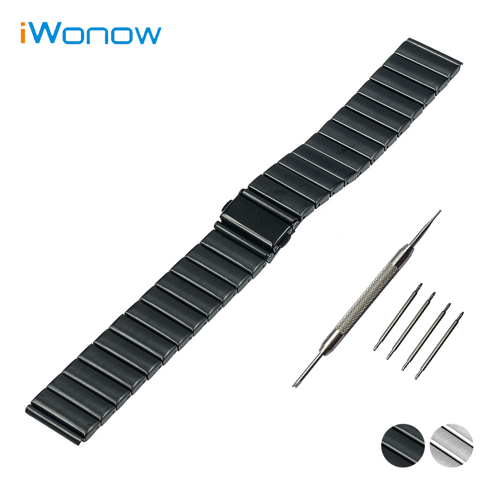 Stainless Steel Watch Band 24mm for Sony Smartwatch 2 SW2 Folding Buckle Strap Wrist Belt Bracelet Black Silver + Spring Bar stylish 8 led blue light digit stainless steel bracelet wrist watch black 1 cr2016