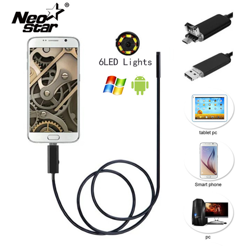 Miniature Waterproof Camera with Led Endoscope Magnet Suction Needle for Pipeline Car Room Checking Support xiaomi Android  PC mikro kamere