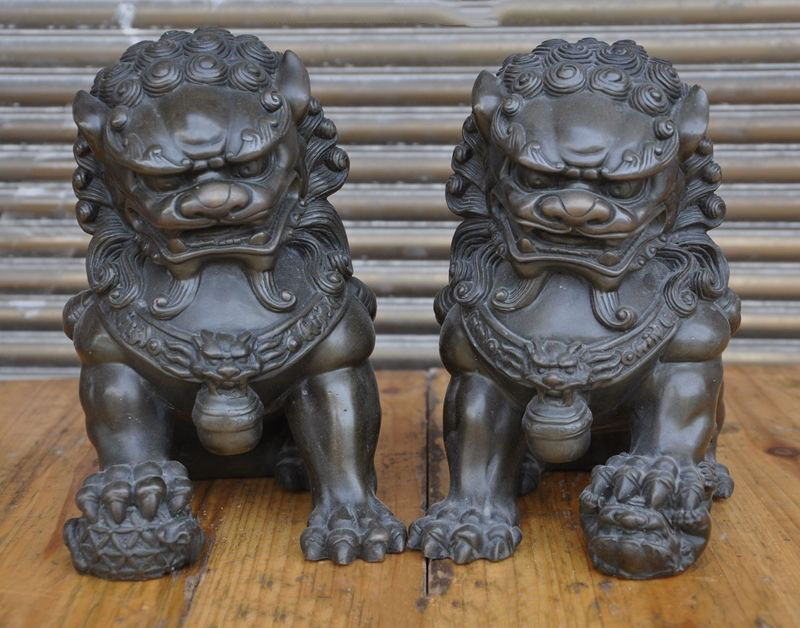Chinese Bronze fengshui Evil Guardian Foo dog Palace Door Lion beast statue Pair