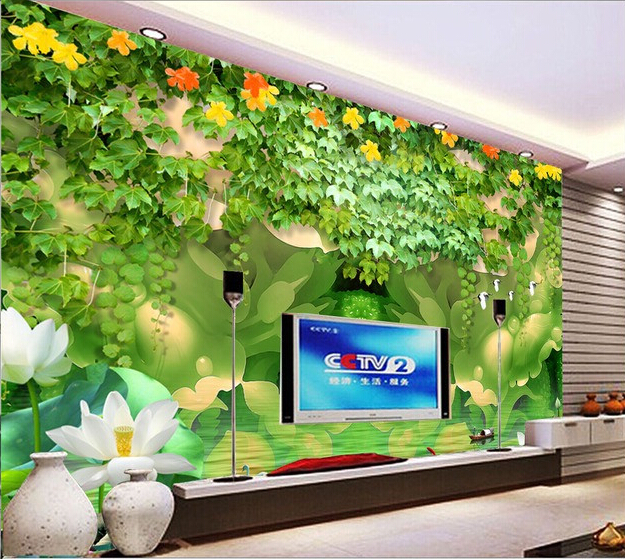 Custom 3D wallpaper, rose and lotus murals for the living room bedroom TV background wall vinyl papel de parede custom ceiling wallpaper blue sky and white clouds landscape murals for the living room bedroom ceiling wall papel de parede