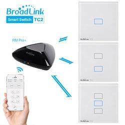 Broadlink tc2 ue interruptor de luz wi-fi sem fio interruptor inteligente, broadlink rm mini 3, broadlink rm pro +, através de controle de aplicativo por smartphone