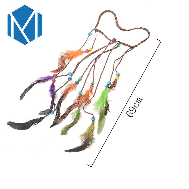 M MISM Colored Bead Feathers Bohemian Feather Headband Festival Women Peacock Rope Indian Hair Accessories Handmade Ethnic Plume