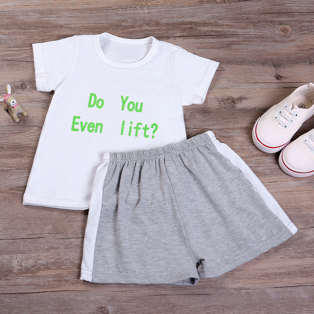 2pcs/set Baby Clothing Set Infant Boys White Letter Printed Tops T-shirt+Gray Short Pants Fashion Summer Toddler Outfits Set