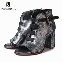 Prova Perfetto Sexy Peep Toe Women High Heel Summer Boots Belt Buckle Ankle Boots Bling Genuine