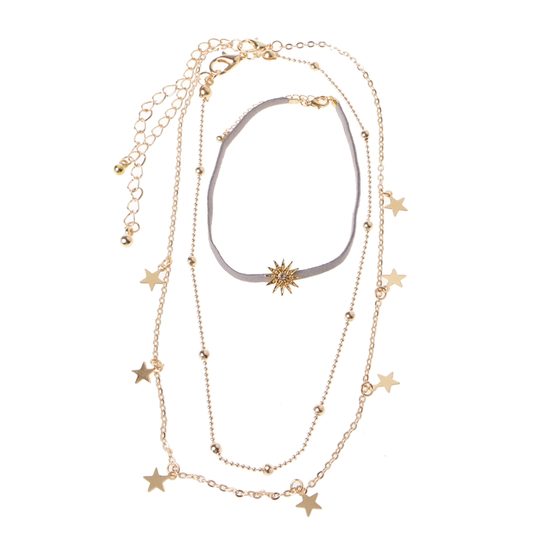 Vintage Boho Star Sun Sequins Plated Gold Chokers Layer Pendant Necklaces Women