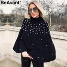 BeAvant Turtleneck knitted winter sweater women knit Loose pullover jumper pull femme 2018 Pearl beaded oversized sweater cape