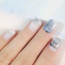 Short Acrylic Fake Nails Gradient Marble Pattern Full Cover False Light Grey DIY Nail Art Manicure Tools