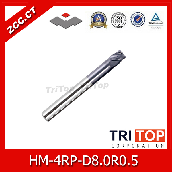 ZCC.CT HM/HMX-4RP-D8.0R0.5 Solid carbide 4-flute Radius  end mills with straight shank, long neck and short cutting edge zcc cthm hmx 4efp d8 0 solid carbide 4 flute flattened end mills with straight shank long neck and short cutting edge