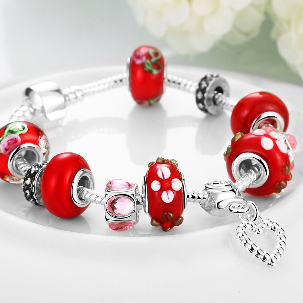 2018 New Authentic 925 Sterling Silver Charms Fit Original Pandor Charms Bracelet Fashion Cute Cute Round Lady Red Bracelet gift
