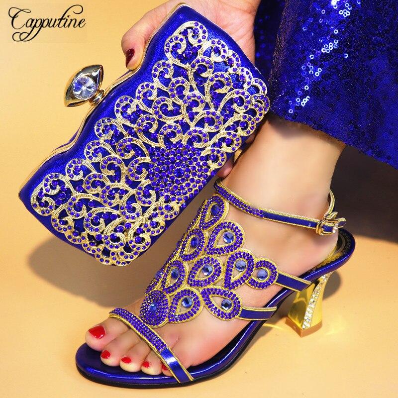 Capputine Бесплатная доставка Африканский Обувь для торжеств на высоком каблуке и подходящая Сумочка замечательный Дизайн 2018 свадебные туфли и...