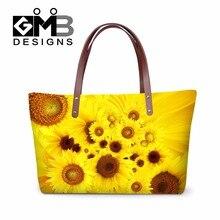 Słonecznik 3D wzór torebki na ramię dla kobiet, stylowa wysokiej temperatury duże torba z rączkami dziewczynek, studenci torby ręce do podróży