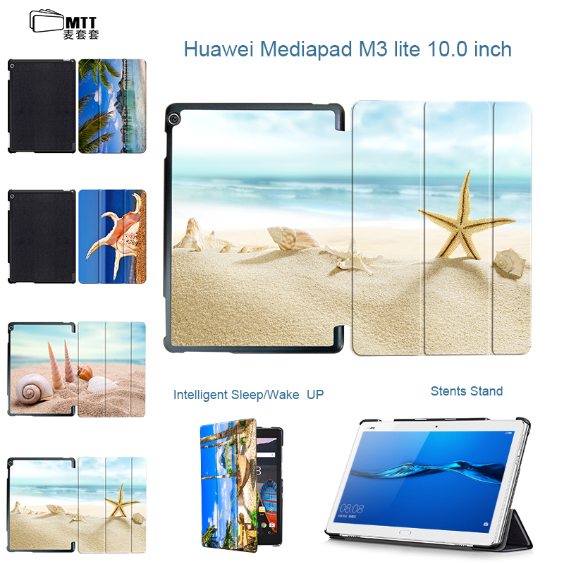 MTT Beach Conch Case For Huawei MediaPad M3 lite 10 BAH-W09 BAH-AL00 L09 Covers Protective PU Leather M3 Lite 10.1 Tablet cases case for 10 1 huawei mediapad m3 lite 10 protective cover case for bah w09 bah al00 10 tablet free 3 gift