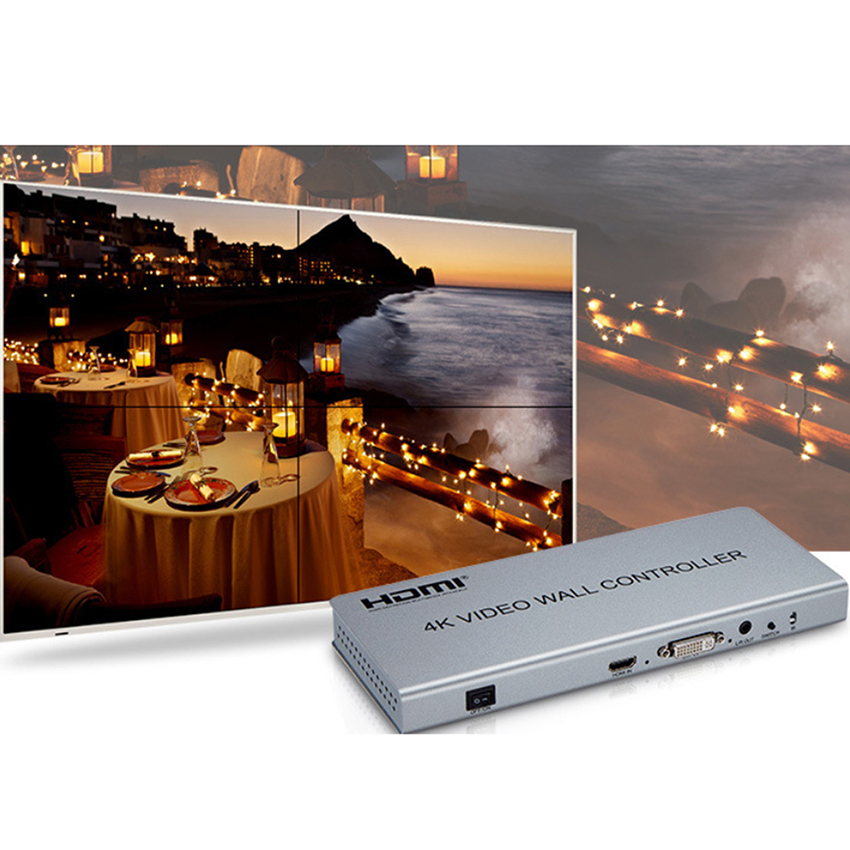 Image 3 - Video wall controller 2x2 1 HDMI/DVI Input 4 HDMI Output 4K TV Processor Images Stitching 4 TV Shows a Screen Splicing-in CCTV Parts from Security & Protection