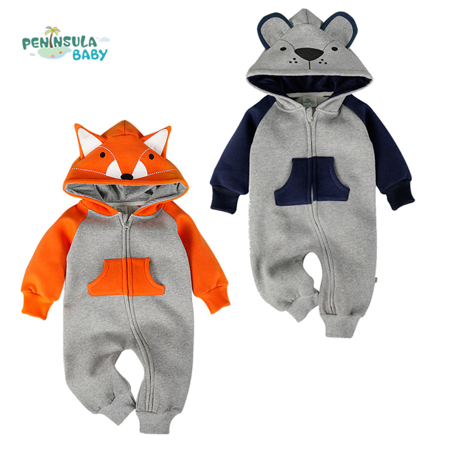 Autumn Newborn Baby Cotton Rompers Cartoon Fox Long Sleeve Boy Clothes Jumpsuit Infant Girls Animal Hooded Costume Baby Product warm thicken baby rompers long sleeve organic cotton autumn