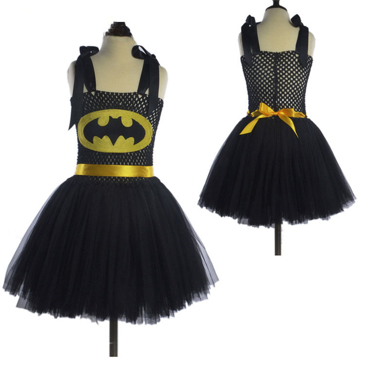 High Quality Soft Nylon Tulle Boutique Kids Clothing Toddler Girls Halloween Costumes Birthday Party Dress Infant Lolita Black
