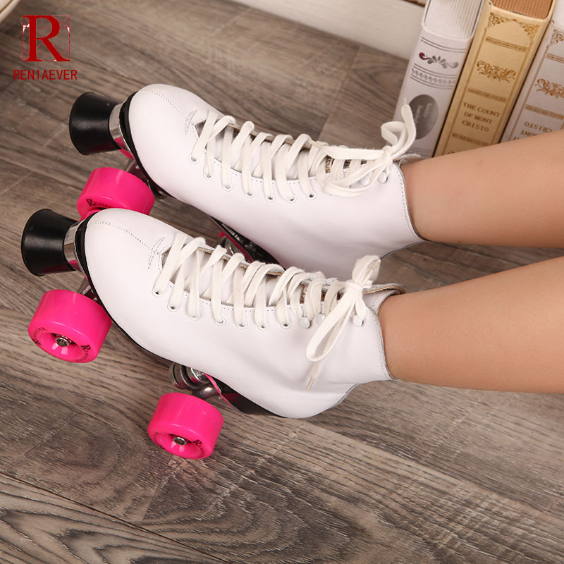 RENIAEVER Roller Skates White Genuine Leather Double Line Skates Lady Metal Base 4 Pink PU Wheels Two line Skating Shoes Patines reniaever roller skates double line skates white women female lady adult with white pu 4 wheels two line skating shoes patines