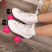 Reniaever التزلج الأبيض جلد طبيعي ضعف خط الجليد سيدة قاعدة معدنية 4 الوردي pu عجلات التزلج الأحذية patines