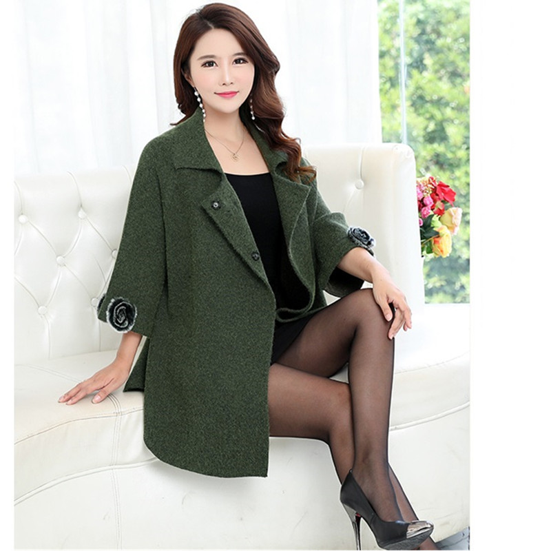 UHYTGF Korean Winter Woman Cashmere Coat 2018 Plus size Autumn   Fashion Elegant Ladies Coats High quality especially female 304-in Wool & Blends from Women's Clothing    3