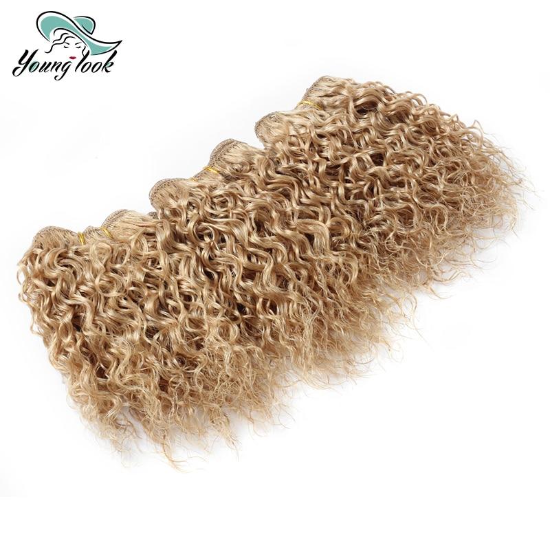 Free Shipping BBC Curly Hair Bundles 3 PCS/Lot 6 inch Blond Hair Brazilian Hair Weave Bundles YOUNG LOOK Hair