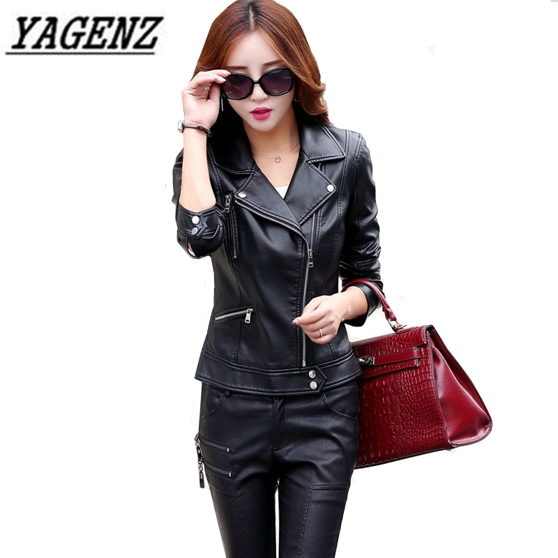 2018 Winter And Autumn New Women Motorcycle PU   Leather   Jacket Fashion Slim Coat Black Zipper Outerwear Faux Soft   Leather   jacket