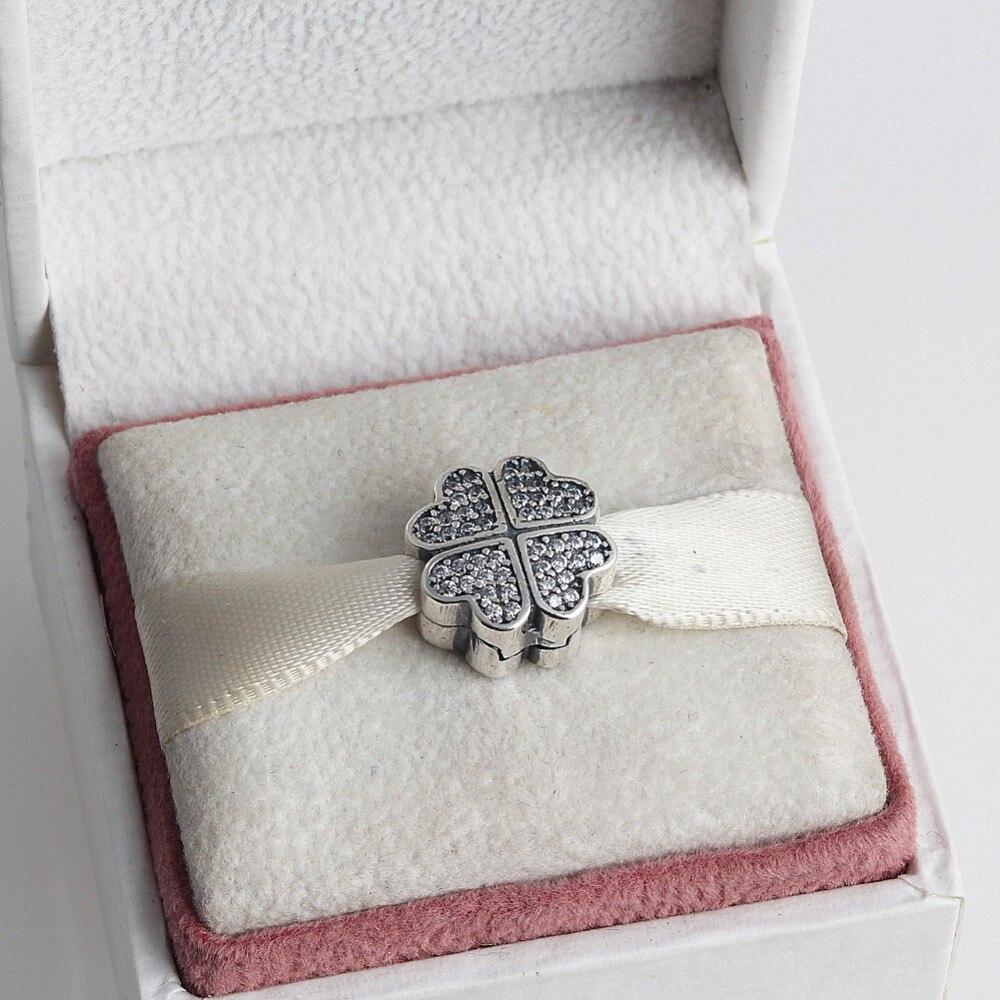 ZMZY Authentic 925 Sterling Silver Charms Oxidic CZ Clover Clip Bead Fits Pandora Bracelet DIY jewelry
