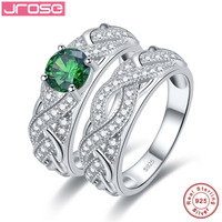 Jrose High Quality Emerald White CZ Solid Real Sterling Silver Jewelry 2 Pcs Couple Rings Wedding