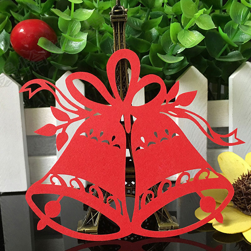50pcs Christmas Bells Laser Cut Table Place Cards Name Number for Wedding birthday Party Decoration favor-2