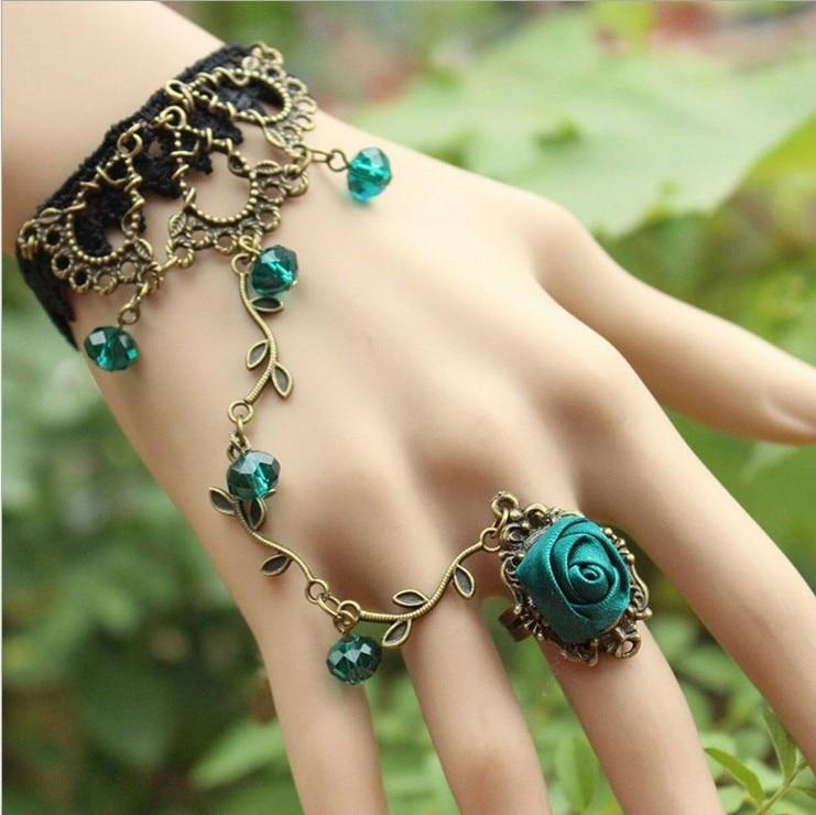 Women Hand Chain Ring VineRetro Vintage Style Rose Flower Stone ...