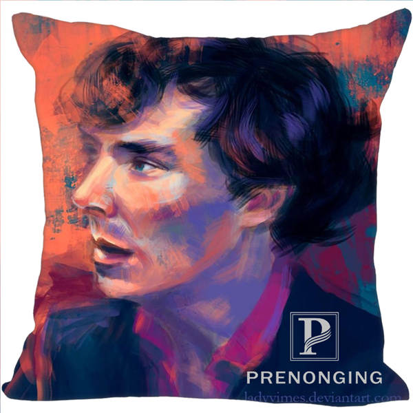 Custom Decorative Pillowcase Sherlock@01 Holmes Square Zippered Pillow Cover Best Gift 40x40cm,45x45cm(One Side)180117#109