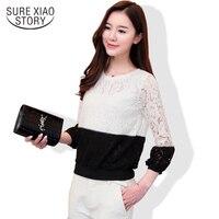 2017 Senhoras de renda camisa top fino preto e branco Coreano moda Lanterna Luva das mulheres blusas Lace mangas lanterna 202F 30