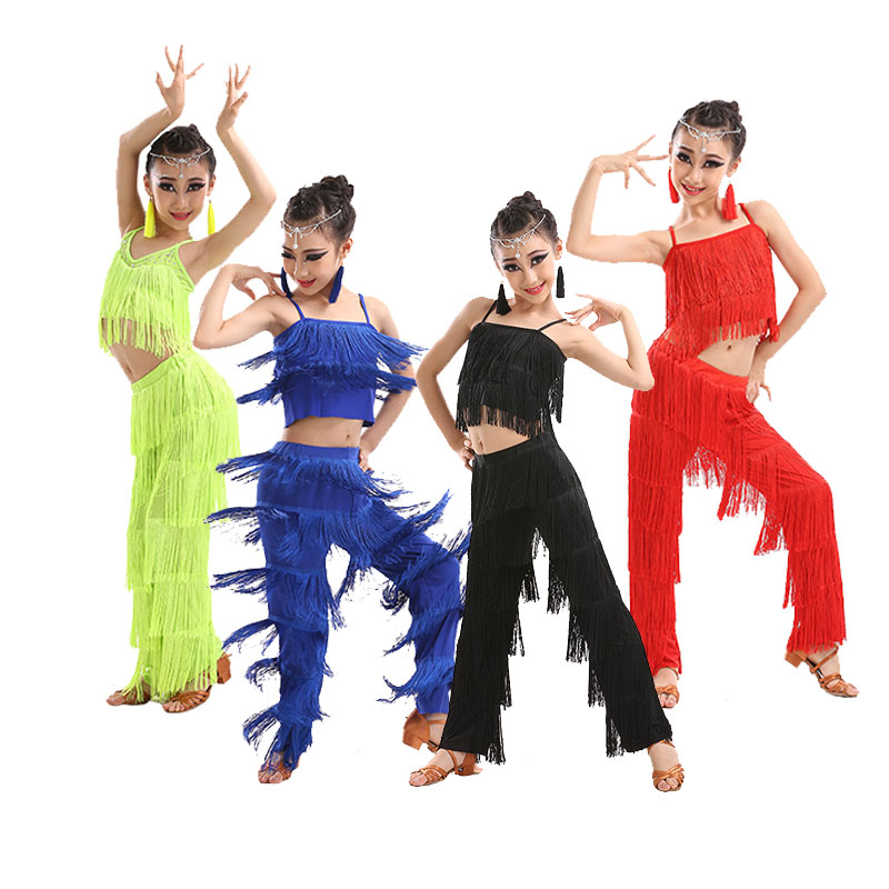 Children's Latin Dance Jazz  Costumes Girls Latin Dance Competition Tassel Suit Dance Clothes Ballroom Dance Dresses