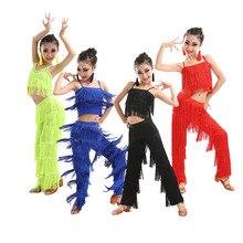 Kinder Latin dance jazz kostüme mädchen Latin dance wettbewerb quaste anzug tanz kleidung ballroom dance kleider
