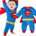 2016 Лето Новорожденный Ребенок Костюм Ребенка Комбинезон Супергерой Супермен Хлопок Baby Boy Девушка Rompers Новорожденных детская Одежда