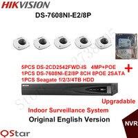 מערכת אנגלית מקורה אבטחת cctv hikvision המקורי 5 יחידות ds-2cd2542fwd-is 4mp הקלטת nvr מצלמת ip poe + 6mp ds-7608ni-e2/8 p