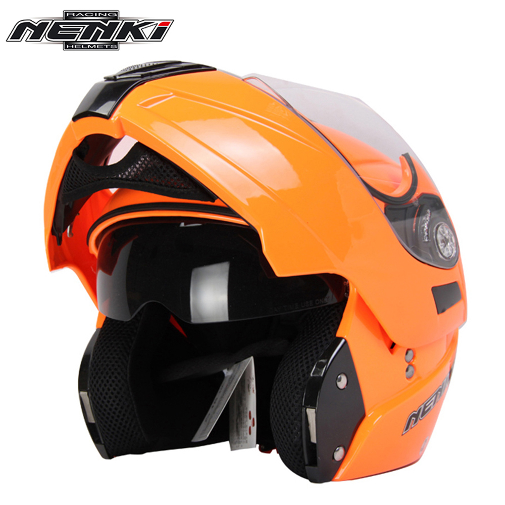 NENKI Motorcycle Full Face Helmet Summer Flip Up Street Bike Moto Motorbike Racing Helmet with Dual Visor Sun Shield Lens 831