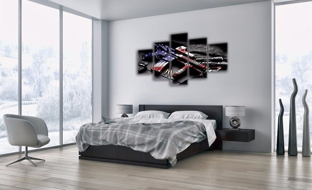 Retro Gun American Flag Military Canvas Print Art Independence Day Home Wall Pictures 5 Panel Large