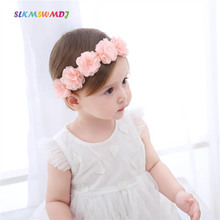 SLKMSWMDJ Childrens Hairband Chiffon Flower Accessories Girls Baby Headdress Child for 3 months - 12 2 colors