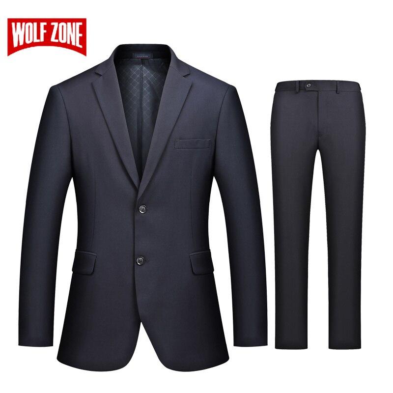 WOLF ZONE Merk Business Casual Luxe Pak Mannen Slim Fit Pakken met Broek 2 Stuk Bruiloft Blazer Heren Formele Party jas-in Pakken van Mannenkleding op  Groep 1