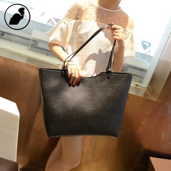 ETONWEAG Women Leather Designer Handbags High Quality Vintage Black Tote Bag Casual Famous Brands Shopping Bag Shoulder Bags paste lady real leather handbags patent famous brands designer handbags high quality tote bag woman handbags fringe hot t489