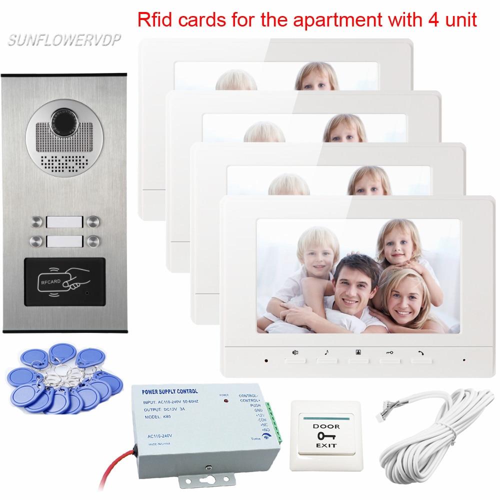 New Intercom Door Rfid Camera 4 Buttons for 4 Apartments Video Intercom Best Quality Vid ...