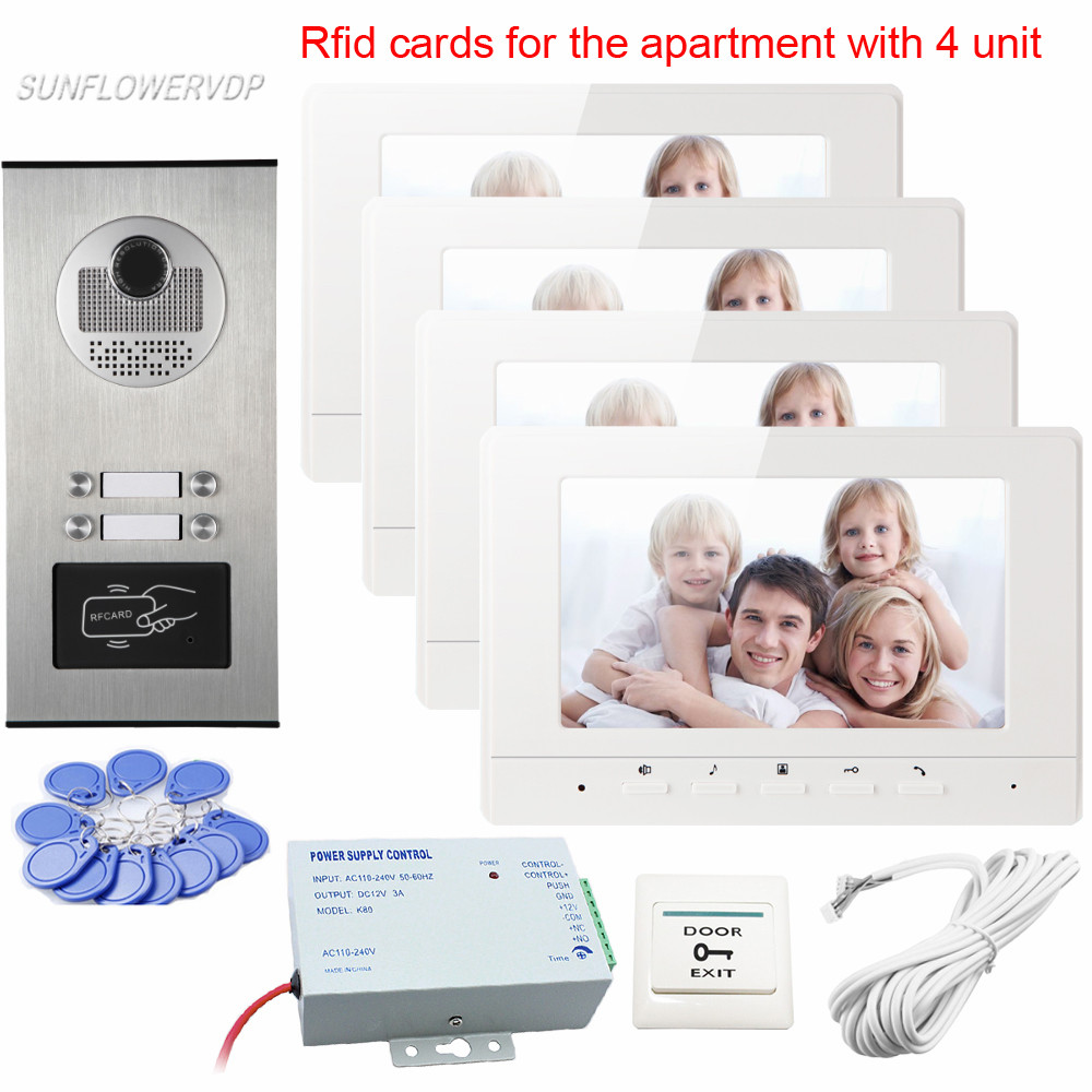 New Intercom Door Rfid Camera 4 Buttons for 4 Apartments Video Intercom Best Quality Video Door Phone With 7 Color 4 Monitors image