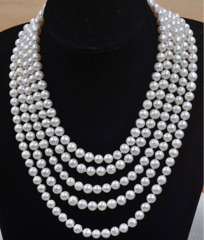 Outstranding 100 inch long 8mm white 100% real pearl necklace