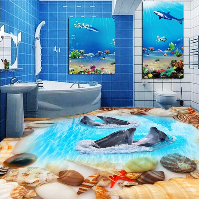 Free Shipping Beach Shell Dolphin Toilet Bedroom 3D Floor wear non-slip living room bedroom study flooring wallpaper mural free shipping beach spray 3d dolphin sea floor non slip living room wallpaper office decoration studio wallpaper mural