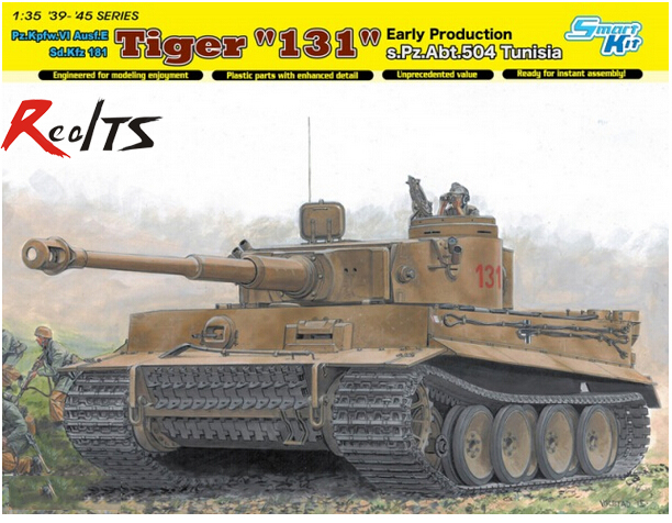 RealTS DRAGON 1/35 TIGER-I 131 EARLY PRODUCTION s.Pz.Abt.504 Tunisia Fury(DML6820) realts dragon 6746 1 35 flak 43 flakpanzer iv ostwind w zimmerit